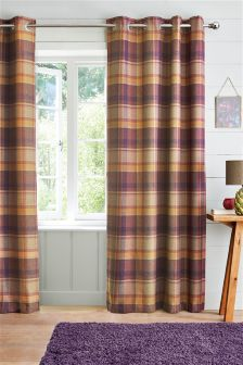 Kingsley Woven Check Eyelet Lined Curtains