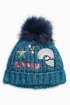 Badged Beanie Hat (Younger Girls)