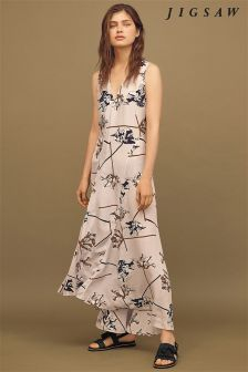 Jigsaw Grey Dancing Tulip Silk Maxi Dress
