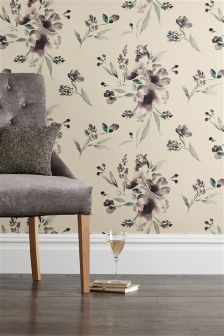 Paste The Wall Mauve Elegant Floral Wallpaper