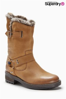 Superdry Tan Fur Lined Biker Boot