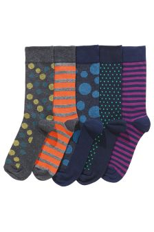 Spots And Stripes Socks Five Pack