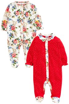 Flower Sleepsuit 2 Pack (0mths-2yrs)