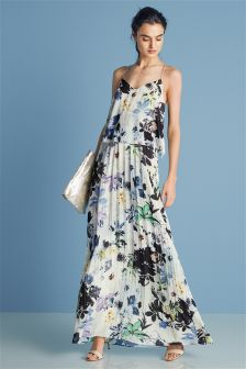 Floral Print Pleat Maxi Dress