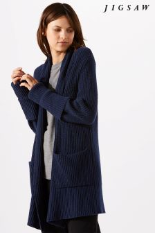 Jigsaw Blue Fisherman's Rib Cardigan