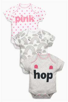 Slogan Bunny Short Sleeve Bodysuits Three Pack (0mths-2yrs)
