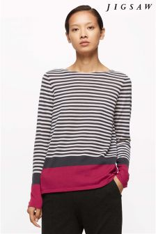 Jigsaw Bright Rose Block Stripe Boat Neck Sweater