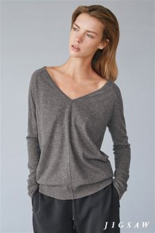 Jigsaw Mid Grey Wafer Cashmere V-Neck Knit