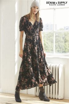 Ralph Lauren Denim & Supply Black Floral Wrap Maxi Dress