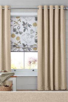 Bouclé Blend Eyelet Lined Curtains Part 38