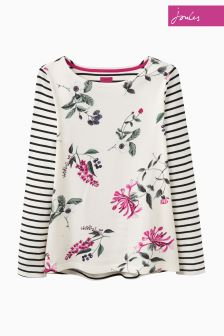 Joules Cream Harbour Print Hedgerow Jersey Top