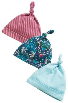 Bunny Tie Top Hats 3 Pack (0-18mths)