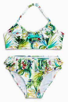 Ecru/Aqua Floral Print Bikini (3-16yrs)