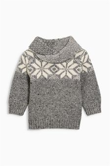 Fairisle Pattern Shawl Neck Jumper (3mths-6yrs)