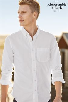 Abercrombie & Fitch White Long Sleeve Poplin Shirt