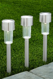 Set Of 6 Solar Silver Effect Pathfinders