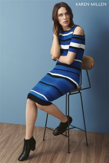 Karen Millen Blue Rib Knit Dress