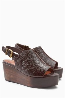 Tooled Slingback Wedges