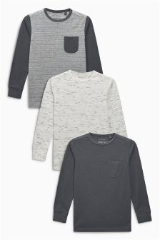 Textured Long Sleeve Tops Three Pack (3-16yrs)