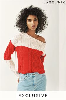 Mix/Teatum Jones Off Shoulder Cable Jumper