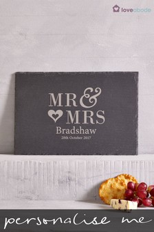 Personalised Mr And Mrs Slate Cheese Board By Loveabode