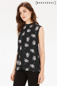 Warehouse Black Stencil Floral Tie Back Top