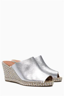 Leather Espadrille Mule Wedge Sandals