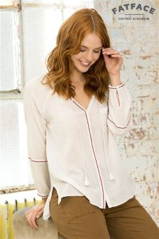 Fat Face Cream Carly Embroidered Blouse