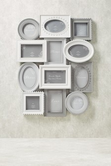 Delicate Grey 12 Aperture Collage Frame