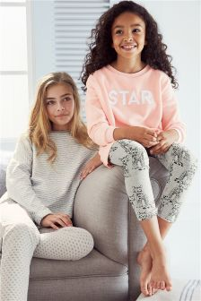 Star Slogan And Cat Legging Pyjamas (3-16yrs)