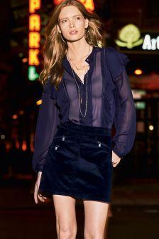 Cord Zip Skirt