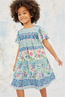 Floral Border Print Midi Dress (3mths-6yrs)