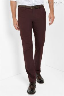 Ted Baker Burgundy Slim Fit Wool Trouser