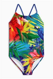 Multi Parrot Print Swimsuit (3-16yrs)