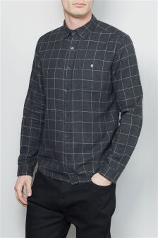 Long Sleeve Window Pane Shirt