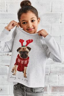 Reindeer Pug Crew Christmas Top (3-16yrs)