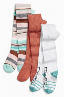 Stripe And Fox Tights Three Pack (3-16yrs)