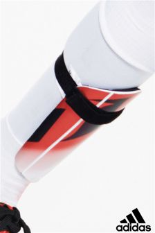 adidas Red/White Messi Shin Pads