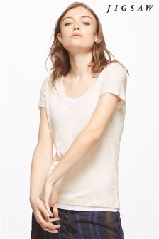 Jigsaw Pale Pink Double Layer Linen Tee
