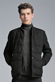 Wadded Wool Blend Jacket
