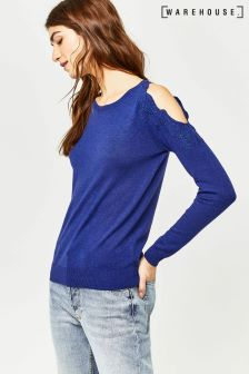 Warehouse Dark Blue Embroidered Cold Shoulder Jumper