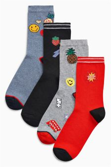 Badge Motif Socks Four Pack