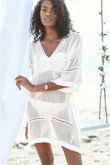 Embellished Feather Kaftan