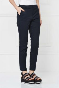 Cotton Twill Cigarette Trousers