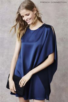 French Connection Navy Satin One Shoulder Dress