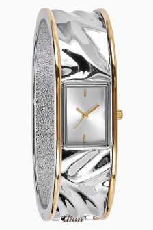 Hammered Effect Two Tone Bangle Watch