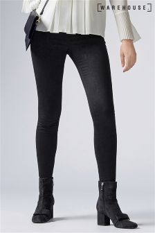 Warehouse Black Coated Ultra Skinny Cut Jean
