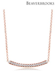 Beaverbrooks Silver Rose Gold Plated Cubic Zirconia Bar Necklace