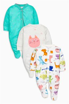 Bright Cats Sleepsuits Three Pack (0mths-2yrs)