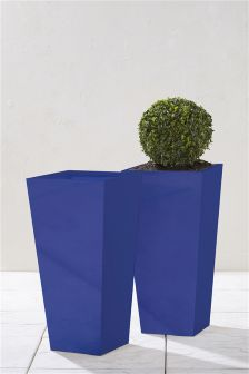 Set Of 2 Blue Lightweight Metal Planters